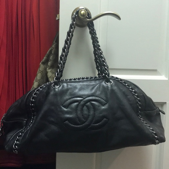 3061ae51a55d2e CHANEL Bags | Black Bowler Bag With Silver Chain Accents | Poshmark